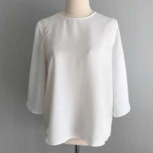 ZARA BASIC White Blouse with Kimono Sleeves